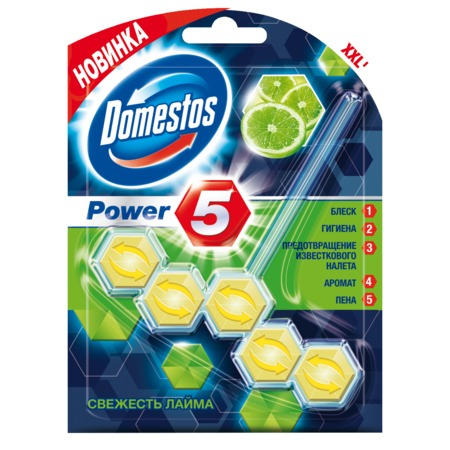 Блок д/очищ.унитаза Domestos Power 5 свеж.лайма 55 г.