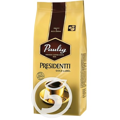 "Кофе ""Paulig"" Presidentti Gold Label в зернах 250г"