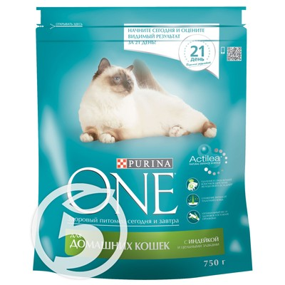 "Корм ""Purina One"" С индейкой и цельными злаками 750г"