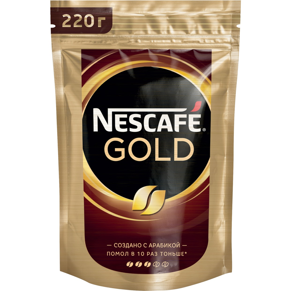 NESCAFE GOLD . НАТУРАЛЬНЫЙ РАСТВОРИМЫЙ СУБЛИМИРОВАННЫЙ КОФЕ С ДОБАВЛЕНИЕМ НАТУРАЛЬНОГО ЖАРЕНОГО МОЛОТОГО КОФЕ, 220 г